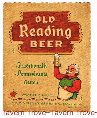 Soaked 1950s Pennsylvania OLD READING BEER Quart 32oz Label Tavern Trove