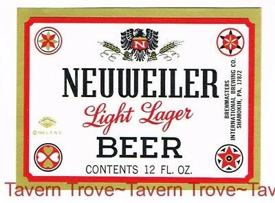 1960s PENNSYLVANIA Shamokin NEUWEILER LIGHT LAGER BEER 12oz Label Tavern Trove