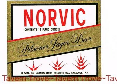1960s NEW YORK Syracuse NORVIC LAGER BEER 12oz Label Tavern Trove