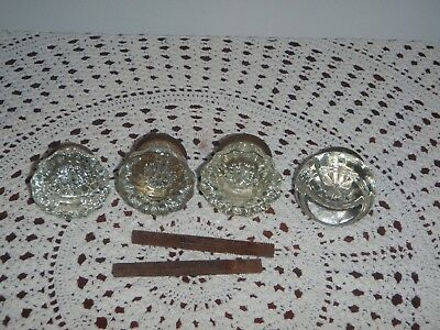 4 Vintage Glass Door Knobs 3-12 Point~1 Smooth Round