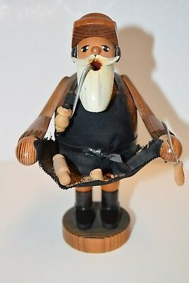 "ErzgeBirge Republic Germany Wood 7"" Wooden Carver Pipe Smoker Incense Burner"