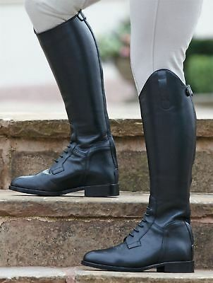 Leather Field Boots Horse Riding Footwear Stable Yard [Large] [37/4]