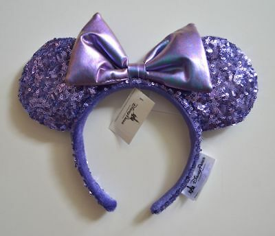 Disney Parks Authentic Potion Purple Sequined Minnie Ears Headband New With Tags