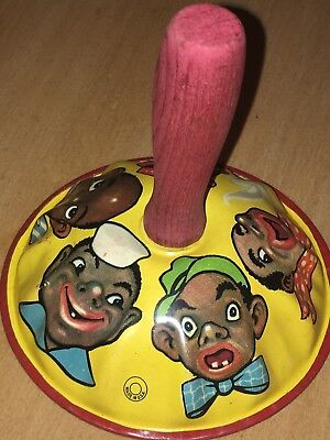 Antique Tin Lithograph Negro Black Americana  Clanger Bell New Years Noise Maker