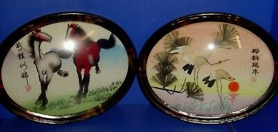 Pair of Oriental Chinese Japanese 3 D Framed Pictures --  Horses -- Cranes