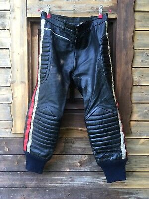 Vintage Leather Motocross Motorcycle Racing Pants Trousers Sz 30/32 Pantaloni