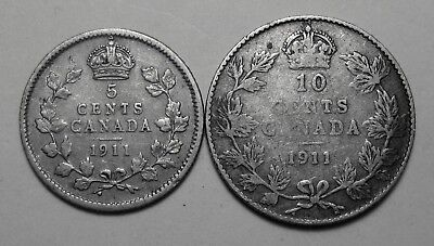 (2) Canada Coins Both 1911 Five Cents & Ten Cents SILVER!! George V