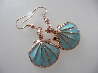 Vintage Art Deco Style Enamelled Shell Not So Long Earring Beach Holidays Marine