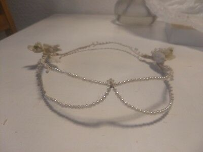 French Antique wax blossoms bridal crown - Braut Blüten Wachs Diadem vintage