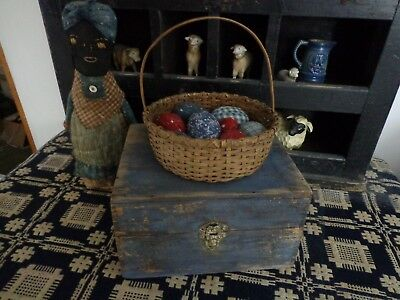 Early Antique Dovetailed wood Box Primitive old Chippy worn Blue Paint