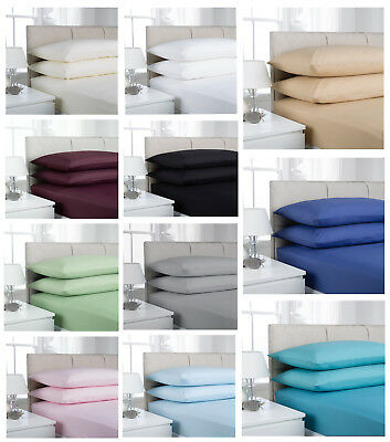 Polycotton 68 Pick Sheet Set Package - One Fitted Sheet And One Pillowcase Pair
