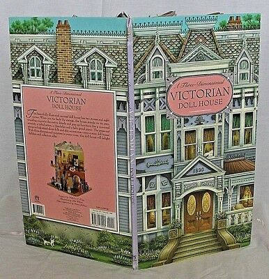 A Three-Dimensional Pop-Up Victorian Doll House Book By Piggy Toes Press 1998