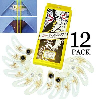"""12-Pk UNSTRANGLER Collar Button Extender Expander SHAPED TO FIT NECK: Adds ½"""""""