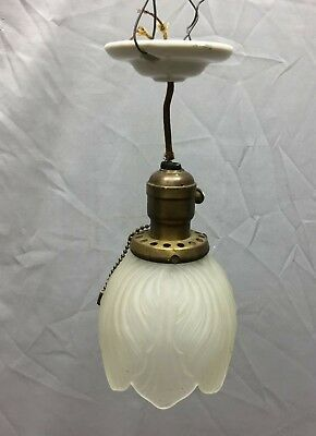 Antique Ceiling Pendant Light Porcelain Brass Frosted Tulip Glass Globe 80-19C