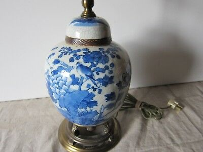 Antique Chinese 19th century Blue and White crackle glaze ginger jar table lamp