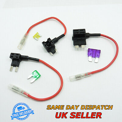 12V Piggy Back Fuse Blade Holder with Fuse Amp Car Motor Van Tap Add a Circuit