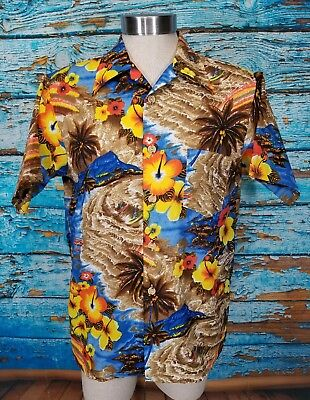 df78099dd8a5d JCPenney Towncraft Vtg 70s Hawaiian Hibiscus Floral Island Mens Large Shirt  RARE