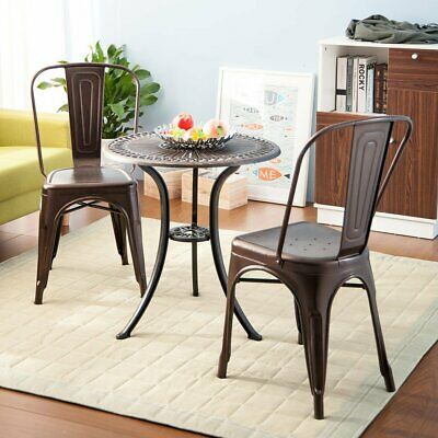 Set of 4 Copper Metal Dining Chairs Stackable Cafe Wedding Reception Chairs