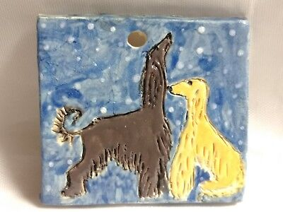 Afghan Hound Dog Double Sided Stoneware Pendant Painting Art Tile Ornament
