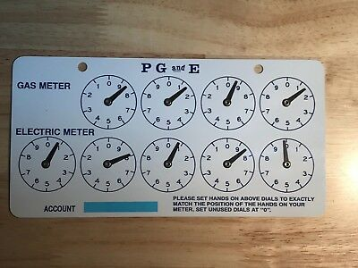 PG&E Pacific Gas and Electric Meter Card