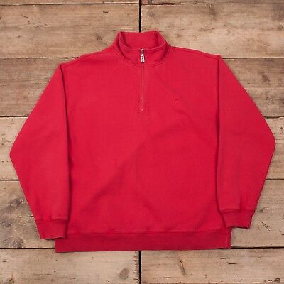 "f3dc36aede8b Mens Vintage Fila Red Cotton Quarter Zip Sweatshirt Jumper Large 44"" R11273"