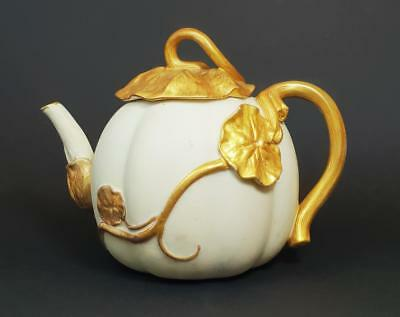 ROYAL WORCESTER AESTHETIC MOVEMENT Porcelain MELON TEAPOT 1889 a/f