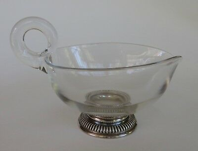 Vintage Frank M Whiting Sterling Silver/Glass Gravy/Sauce Boat