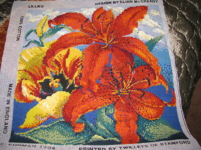 Ehrman: Completed Tapestry Canvas designed by Elian McCready 'Lillies'