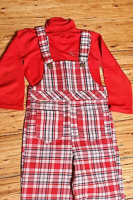 Vintage Sears 2 piece Overalls & Top TOUGHSKINS Plaid Red White Blue Size 6x