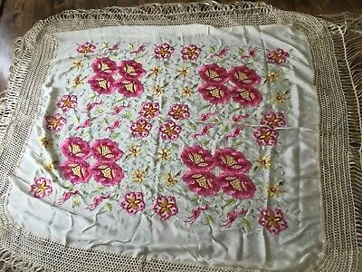 Vintage Silk Embroidered Piano Scarf Shawl With Fringe Pink Flowers Birds