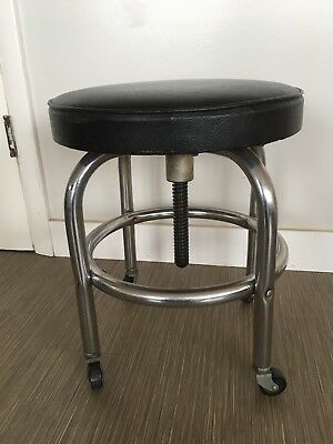 Emil J Paidar Rolling Stool Chrome Leather 1954 Rare Barber Mechanic Seat Chair