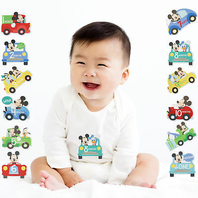 Disney Mickey Mouse Milestone Photo Prop Belly Stickers Baby Boy Age 0-12 M