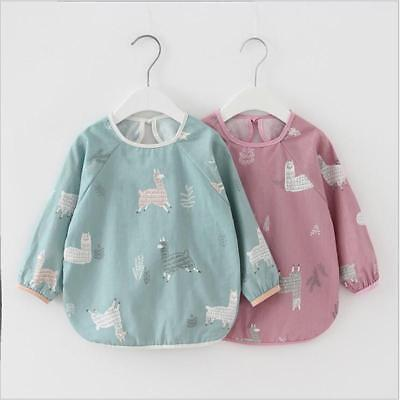 Baby Kids Toddler Long Sleeve Waterproof Art Smock Feeding Bib Apron Pocket Y