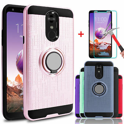 For LG Stylo 4/4+/4 Plus Shockproof Case With Ring Stand Holder+Screen Protector