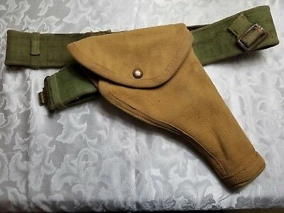 WW2 Canadian British Army P37 Waist Belt Green web with Canvas pistol Holster