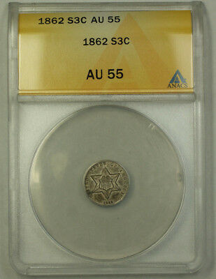 1862 3c Silver Three Cents ANACS AU-55 JMX