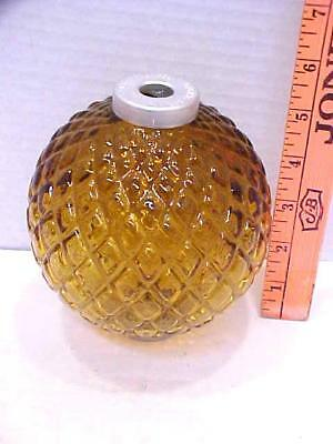 Geo E Thompson Lightning Rod Co Quilted AMBER Glass Ball