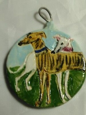 Greyhound Dogs Glazed Stoneware Pendant Painting Art Tile Ornament Fan Pull OOAK