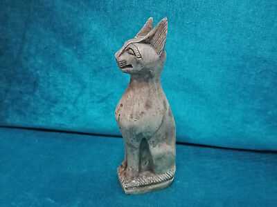 Royal Bast Egyptian Antiques Bastet Amulet Cat Goddess Amazing Statuette