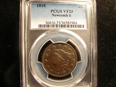 1818 Large Cent  graded by PCGS VF 25, as pictured.