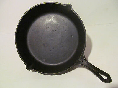 Antique #8 Cast Iron Skillet Gate Marked Heat Ring1800's Double Spout Cleaned