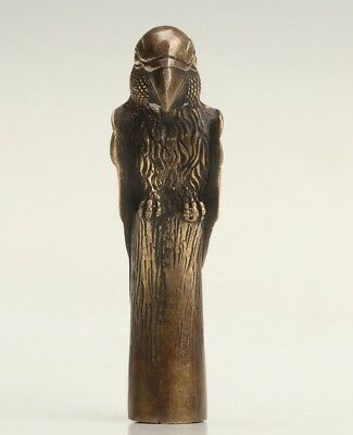 Rare Bronze Hand-Carved Parrot Statue Walking Stick Ornament