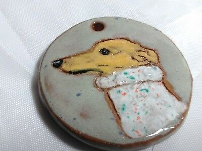 Greyhound Whippet Dog Glazed Stoneware Pendant Painting Art Tile Ornament OOAK