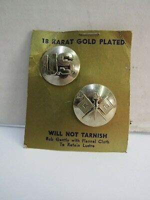 Signal Corps & US Collar Discs Insignia Pins 18 Kt Gold Plated Post WW2 NOS