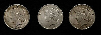 1922-1923-1924 PEACE 90% SILVER DOLLAR LOT OF 3 CIRCULATED COINS (Jack's Lot 7)