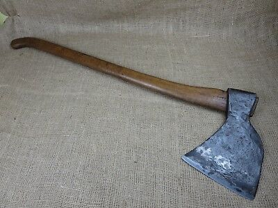 Massive antique French felling axe 9.8 lbs including handle