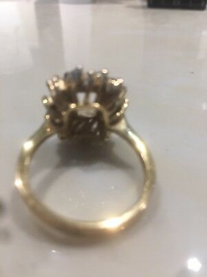 vintage 925 sterling silver Gold plated Ring With Stone Set