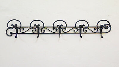 Coat Hangers Wall Vintage Wrought Iron Forged Hand 5 Hooks Ch