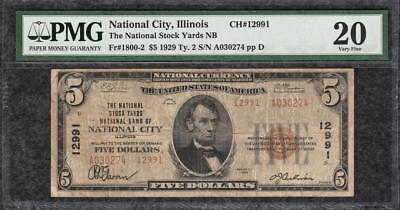 1929 $5 National Stock Yards National Bank National City IL PMG Very Fine 20 C2C