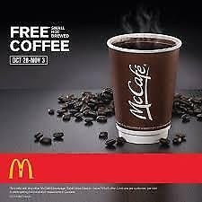 Mcdonalds Hot Drinks Coffee Stickers (10 Drinks Worth) Valid 31/12/19